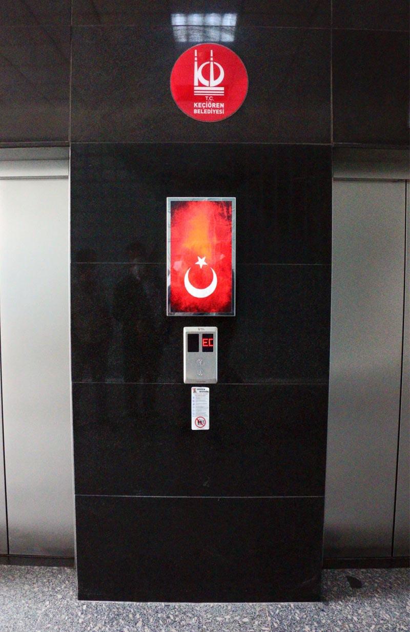 Ankara Keçiören Belediyesi Asansör Bilgilendirme Ekran Kurulumu
